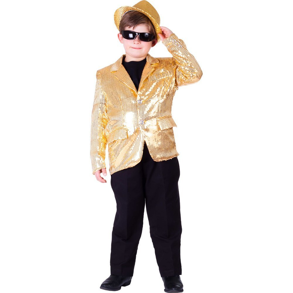 Kids Sequin Jacket (Small, Gold)