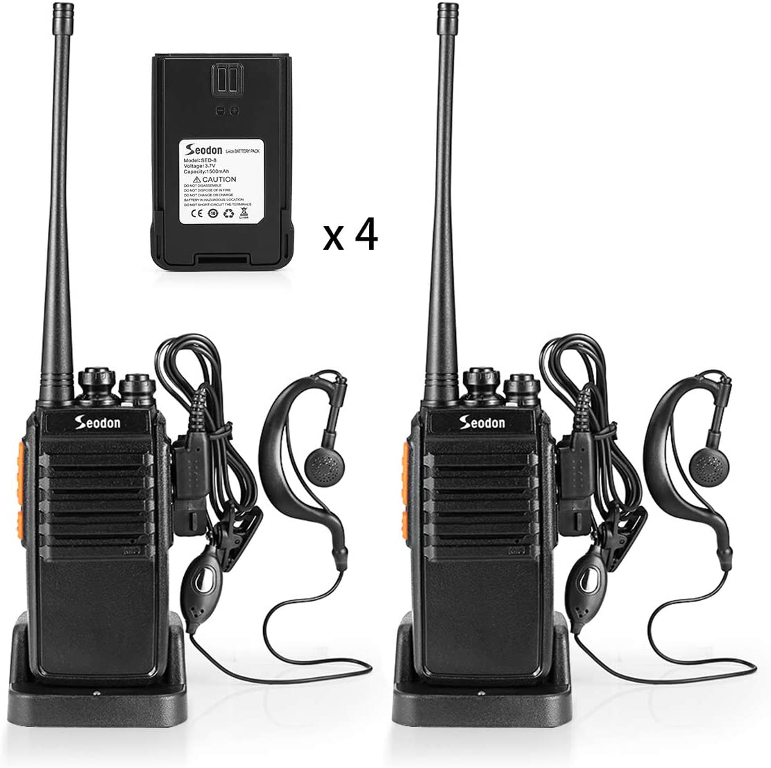 Seodon Walkie Talkies Rechargeable for Adults Long Range with One Extra Battery GMRS/FRS Two Way Radios UHF 400-470Mhz with Earpiece/Headsets(2 Pack)