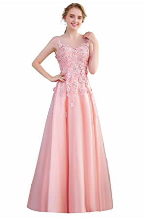 Womens Long Satin Evening Dress Lace Flower with Beading Floor-Length Party Prom Gown Pink