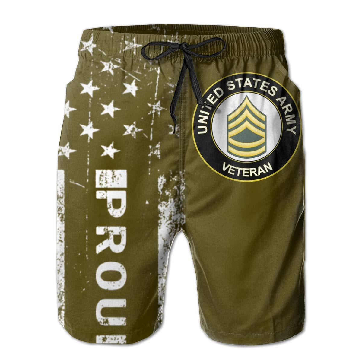 SUNSUNNY US Army Sergeant First Class Veteran Mens Boardshorts Swim Trunks Beach Athletic Shorts