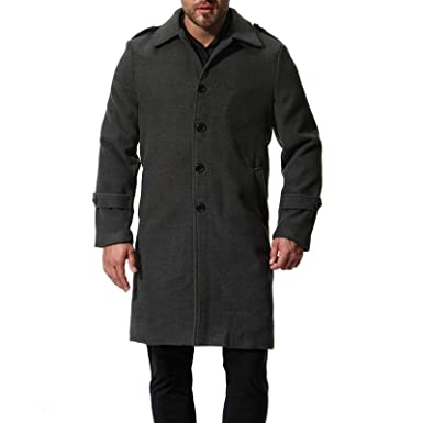 69c838721dac WSLCN Mens Peacoat Double Breasted Overcoat Reefer Parka Trench Coats Long  Jacket Slim Fit Blazer Outerwear: Amazon.co.uk: Clothing