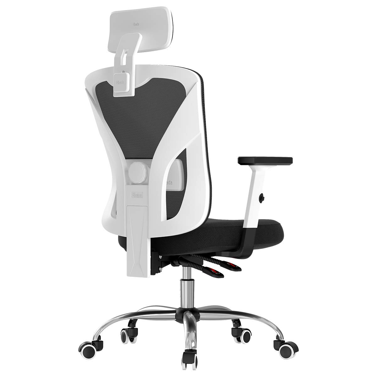 Hbada Ergonomic Office Desk Chair with Adjustable Armrest, Lumbar Support, Headrest and Breathable Skin-Friendly Mesh, White by Hbada