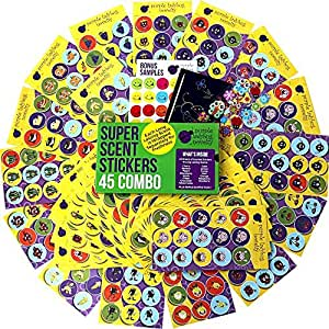 45 Sheet Scratch and Sniff Stickers For Kids & Teachers Mega Variety Pack by Purple Ladybug Novelty with 15 different Scratch N Sniff intense smells Awesome Smelly Sticker & Reward Sticker Fun!