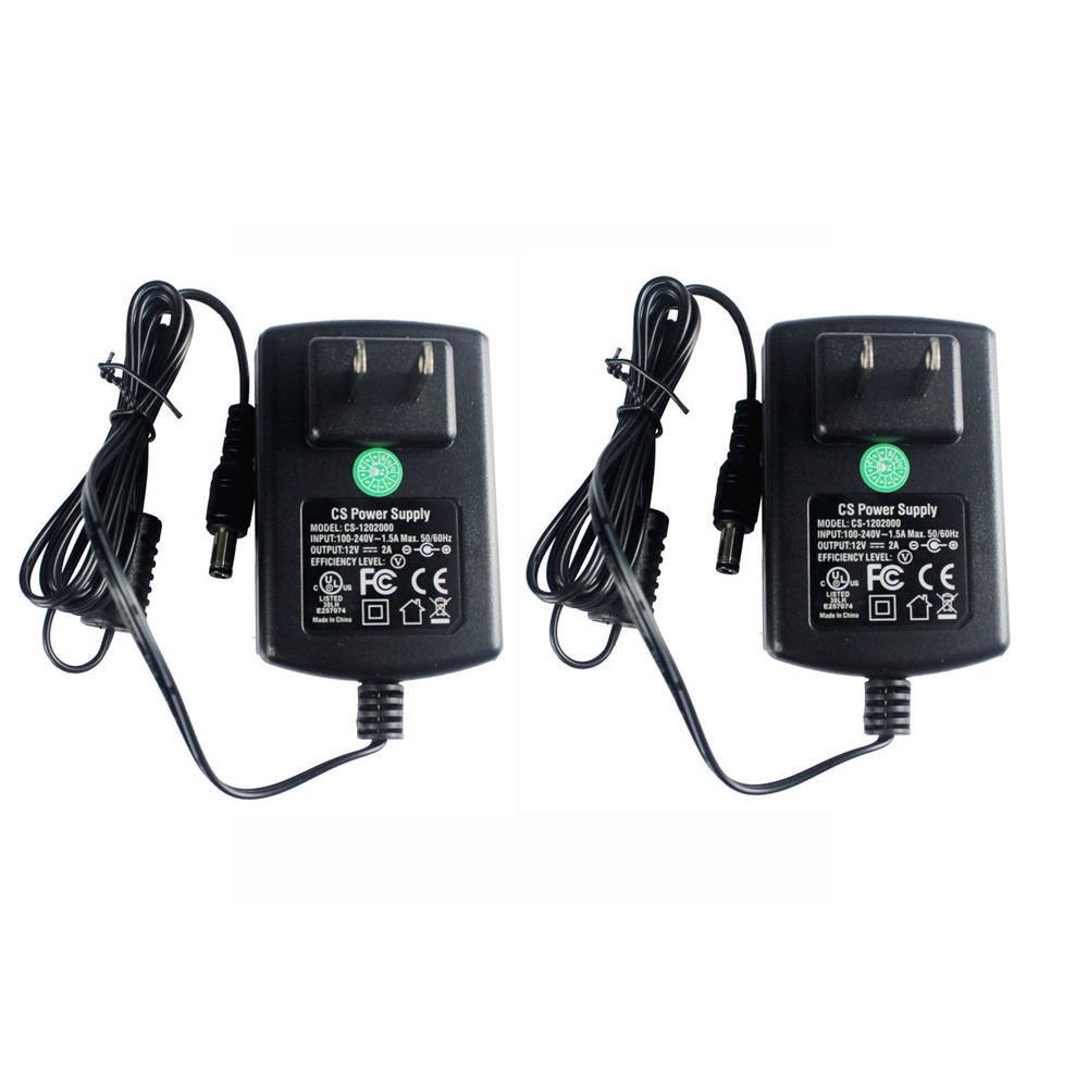 2 Packs AC Adapter DC 12V 2A Power Supply 5.5x2.1mm for CCTV Cameras DVR Strip LED UL Listed FCC by Security-01
