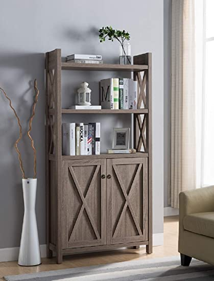 Major Q Modern Contemporary Design 69quot H Wooden Display Bookshelf Diaplay Stand Dark Taupe
