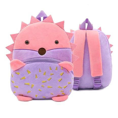 XLHMILY Mini dibujos animados 3D Mochila Infantiles Niños mochila animal Erizo unicornio mochila algodón de jardín