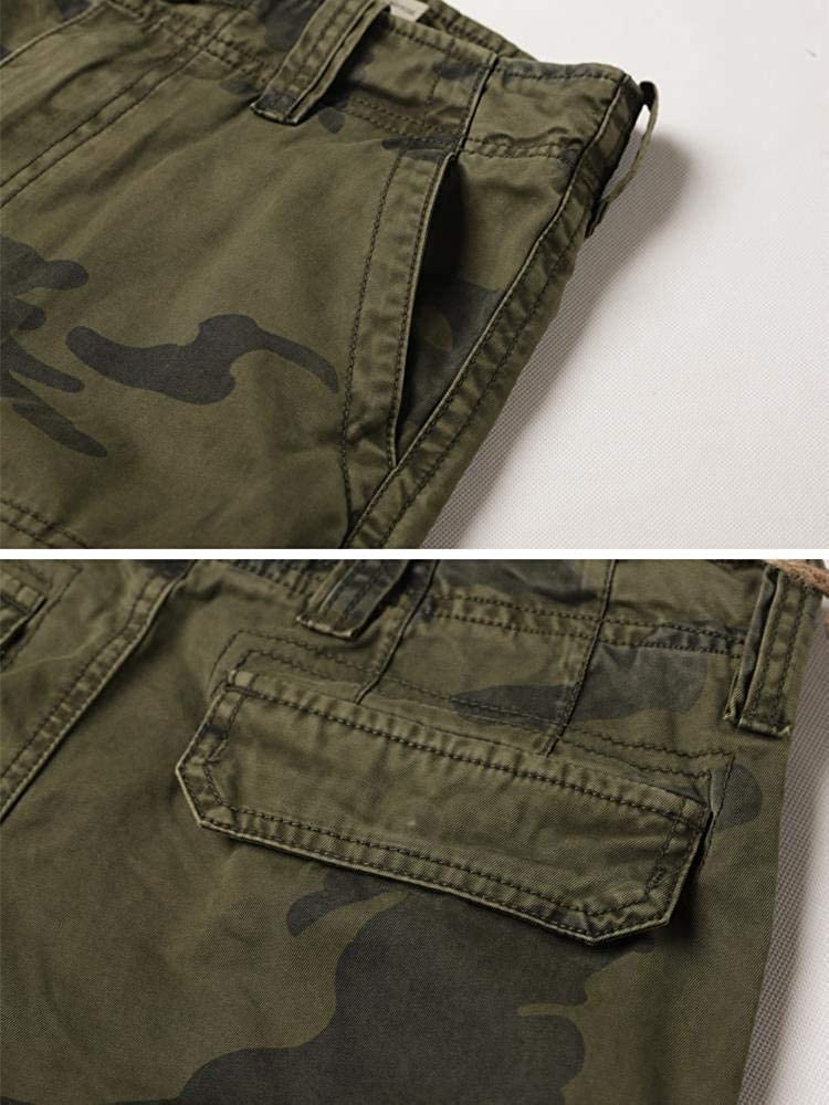 MUST WAY Mens Multi Pocket Loose Fit Cotton Twill Cargo Shorts
