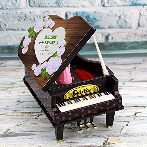 TOUYOUIOPNG Home Decorative Collectibles, Rotating Girl Piano Design Music Box Jewelry Box-Pink