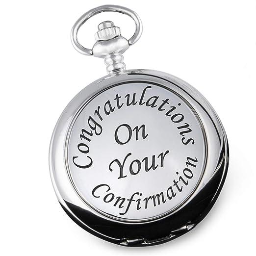 Reloj de Bolsillo para niños con Mensaje en inglés Confirmation Day, Ideal para Regalo: Amazon.es: Relojes