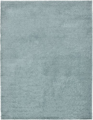 A2Z Rug Cozy Shaggy Collection 9x12-Feet Solid Area Rug - Light Slate (12' Blue Cleaner)