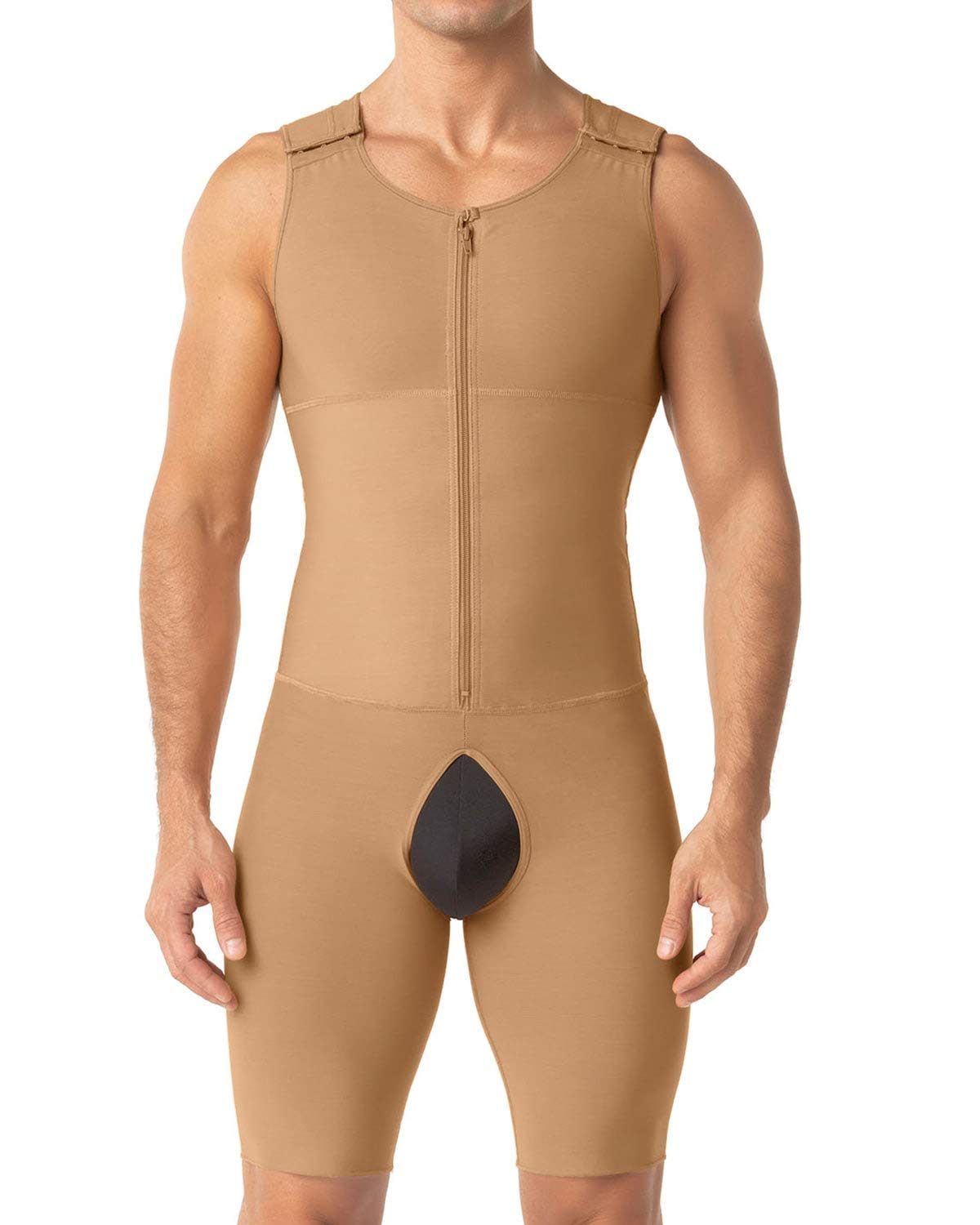 Leo Mens Post-Surgical and Slimming Firm Compression Bodysuit Shaper, Beige, XX-Large by LEO