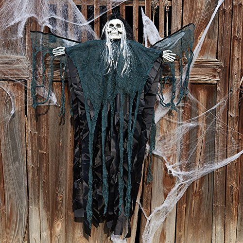 CHICHIC Halloween 3.5 Feet Hanging Decorations with Flashing Eyes & Sound & Swinging Wings, Hanging Skull Hanging Skeleton, Halloween Props, Best Halloween Decoration (Black (Halloween Greetings Animated)