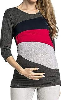 Topgrowth Maglia Premaman Manica Lunga maternità Camicetta A Doppio Strato Bluse Donna Sweatshirt Allattamento Patchwork T-Shirt Top