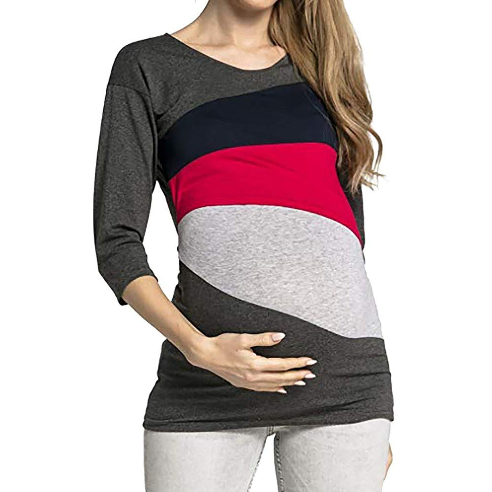 Women Breastfeeding T-Shirt Maternity Long Sleeve Layered Shirt Clothes Stitching Color Nursing Tops (XXL, Red)