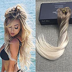 "Full Shine 16"" 100gram 10 Pcs Remy Balayage Clip in Hair Extensions Dark Brown Color #8 Fading to Color #60 Platinum Blonde Balayage Human Hair Extensions Clip in Real Hair"