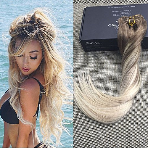"""Beauty : Full Shine 16"""" 100gram 10 Pcs Remy Balayage Clip in Hair Extensions Dark Brown Color #8 Fading to Color #60 Platinum Blonde Balayage Human Hair Extensions Clip in Real Hair"""