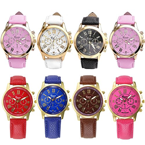 Doinshop 8PCs Women Fashion Geneva Roman Numerals PU Leather Wrist Watches Wholesale (Roman Outfits For Womens)