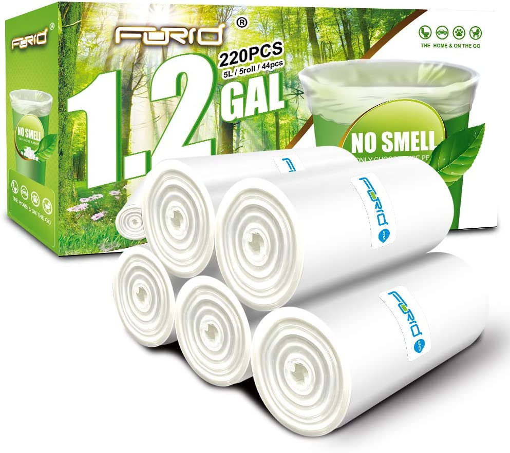 Small Clear Trash Bags – FORID 1.2 Gallon Garbage Bags 220 Count Wastebasket Bin Liners for Bathroom Bedroom Office Garbage Can