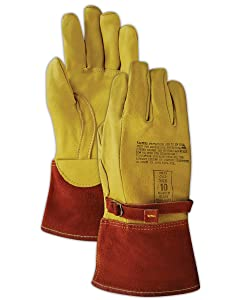 Magid Glove & Safety 60604-10 High Voltage Leather Lineman Protector Glove  for Use with Rubber Electrical Insulating Gloves, Size 10, Yellow (1 Pair)