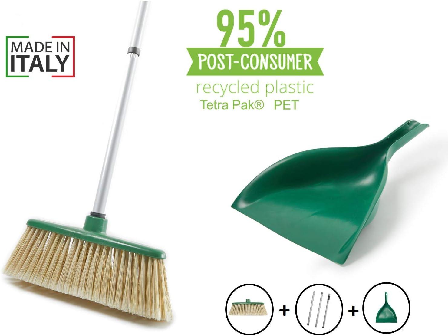 Remake Conjunto de Cepillo para Interior y Recogedor 95% con Plástico Reciclado. Mango de Acero Ultra Resistente. Suaves cerdas, adecuadas para Limpiar rincones y Lugares Ocultos: Amazon.es: Hogar