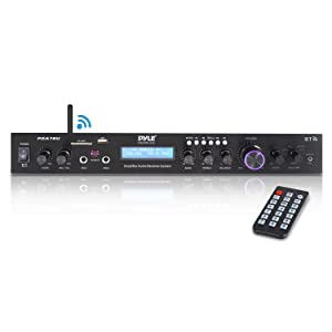 Pyle - Upgraded Premium Rack Mount Bluetooth Receiver, Home Theater Amp, Speaker Amplifier, Bluetooth Wireless Streaming, MP3/USB/SD/AUX/FM Radio, 200 Watt, w/ Digital ID3 LCD Display from - PDA7BU