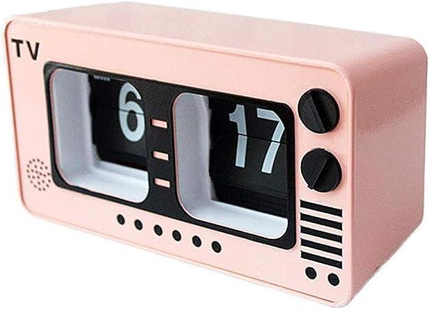 TV Digital Retro Flip Clock -televisión Auto tirón del Reloj Operación de Engranajes internos para el hogar decoración de la Pared Escritorio y Estante Relojes, Rosa: Amazon.es: Hogar