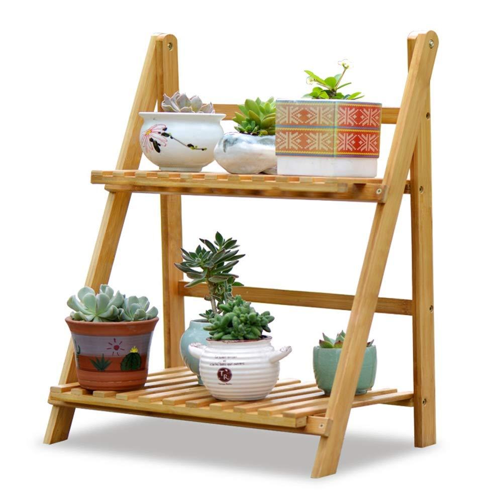 ZHANWEI Stand di Fiori Fiore Rack bambù 2 Livelli Interno Balcone Multifunzione Pieghevole Legna Scaffale di Stoccaggio (Dimensioni   50x31x56cm)