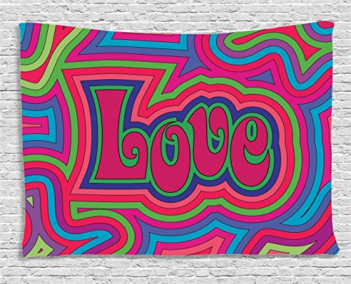 Ambesonne Groovy Decorations Collection, Groovy Psychedelic Love