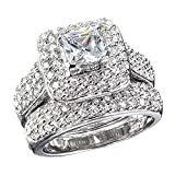 Carffany 925 Sterling Silver Princess-Cut Cubic Zirconia Ring Set White Gold Jewelry for Women Engagement Wedding (5)