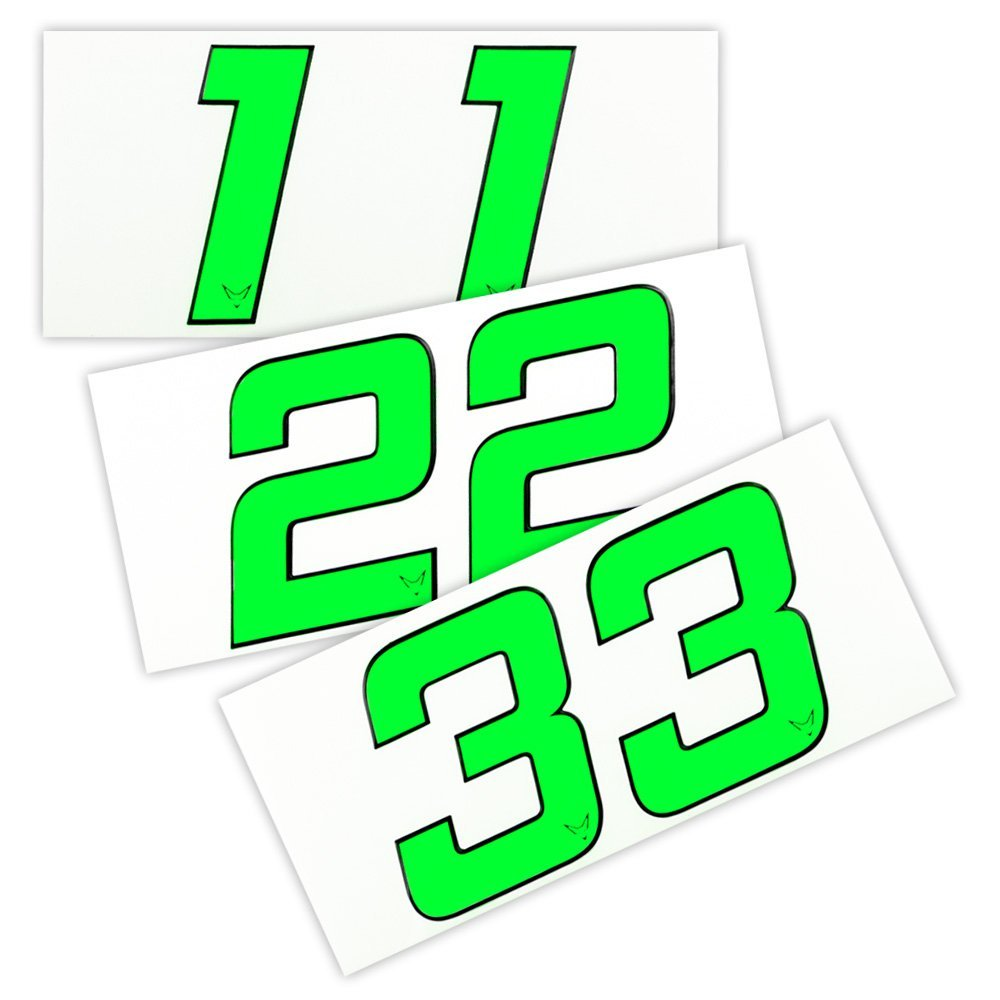 Nummern Startnummer Aufkleber 2er Set # 7 Neon Gr/ün RACEFOXX Zahlen