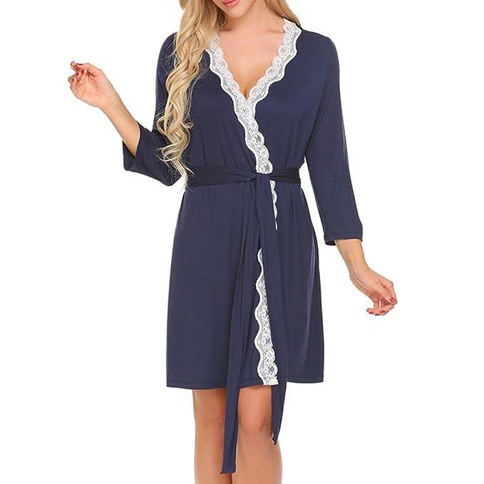 Hibote Mujeres Patchwork Ropa de Dormir Kimono Robe Batas de baño Mujer Boda Dama de Honor Robes Sexy Ropa de Dormir Albornoces: Amazon.es: Ropa y ...