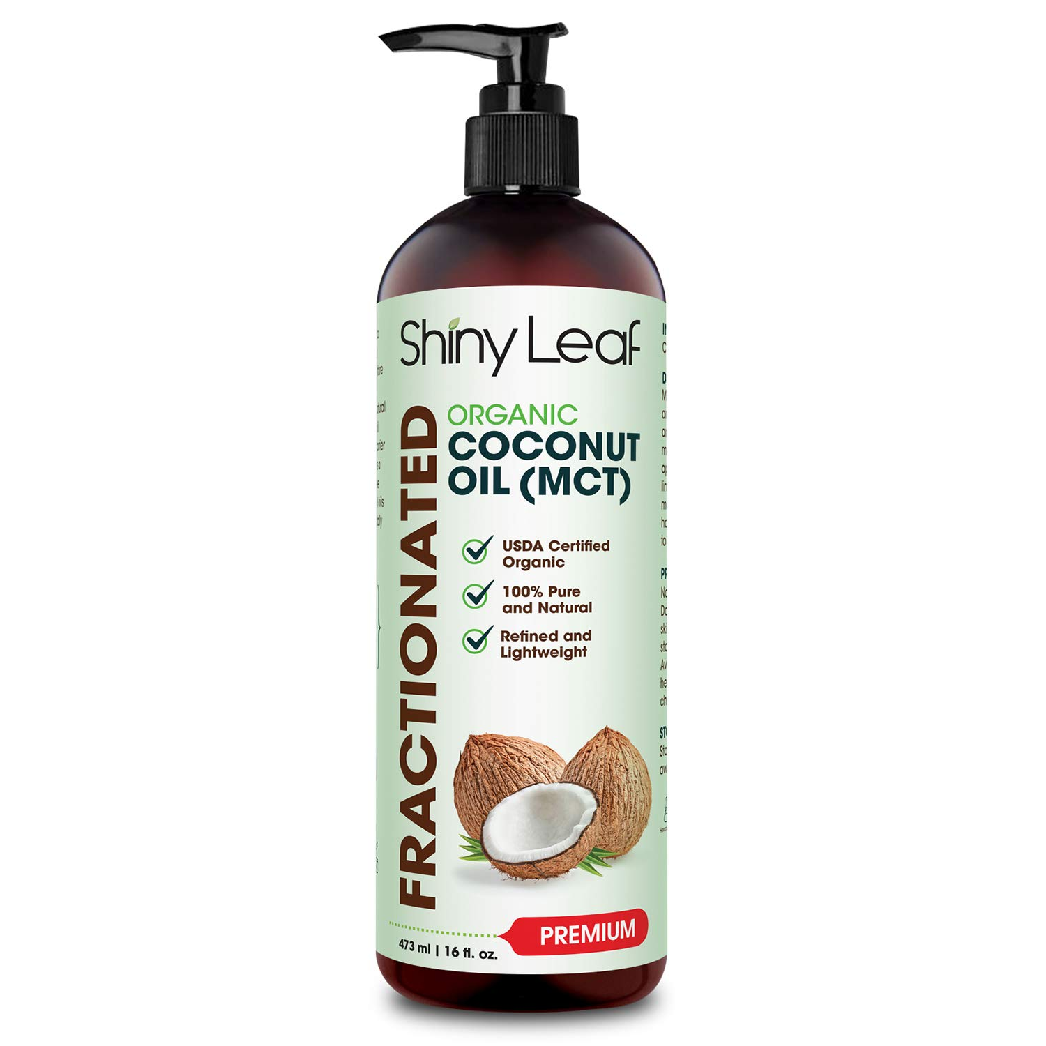 Fractionated Coconut Oil, 100% Pure & Natural Body Oil for Massage & Aromatherapy, Carrier Oil for Essential Oils, Non-Greasy Hair & Skin Care Moisturizer by Shiny Leaf 16 fl. oz.