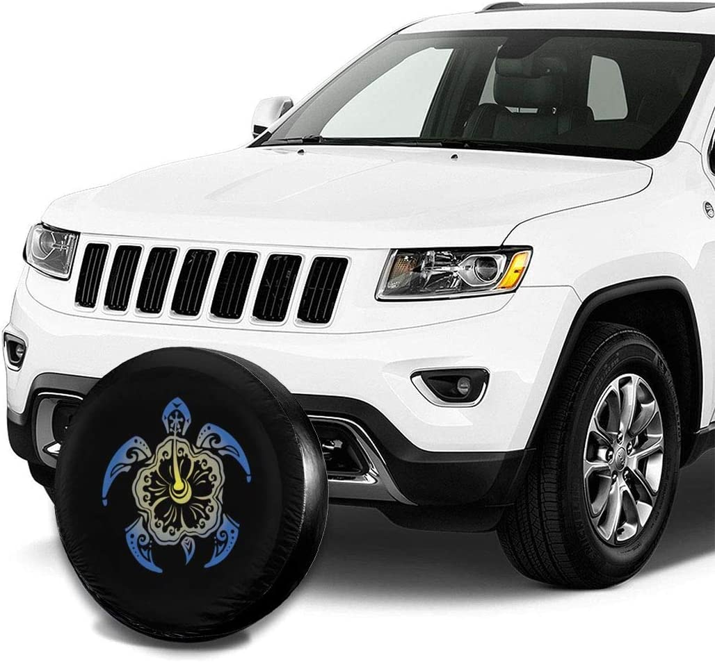 SUV and Many Vehicle 14 Inch RV Foruidea Sea Turtle Flower Spare Tire Cover Waterproof Dust-Proof UV Sun Wheel Tire Cover Fit for Jeep,Trailer