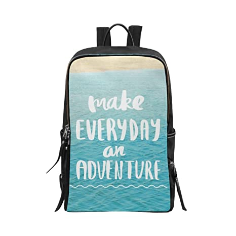 5b26752a9e InterestPrint Inspirational Quote On Blue Ocean Sea Make Everyday an  Adventure Unisex School Bag Casual Shoulders
