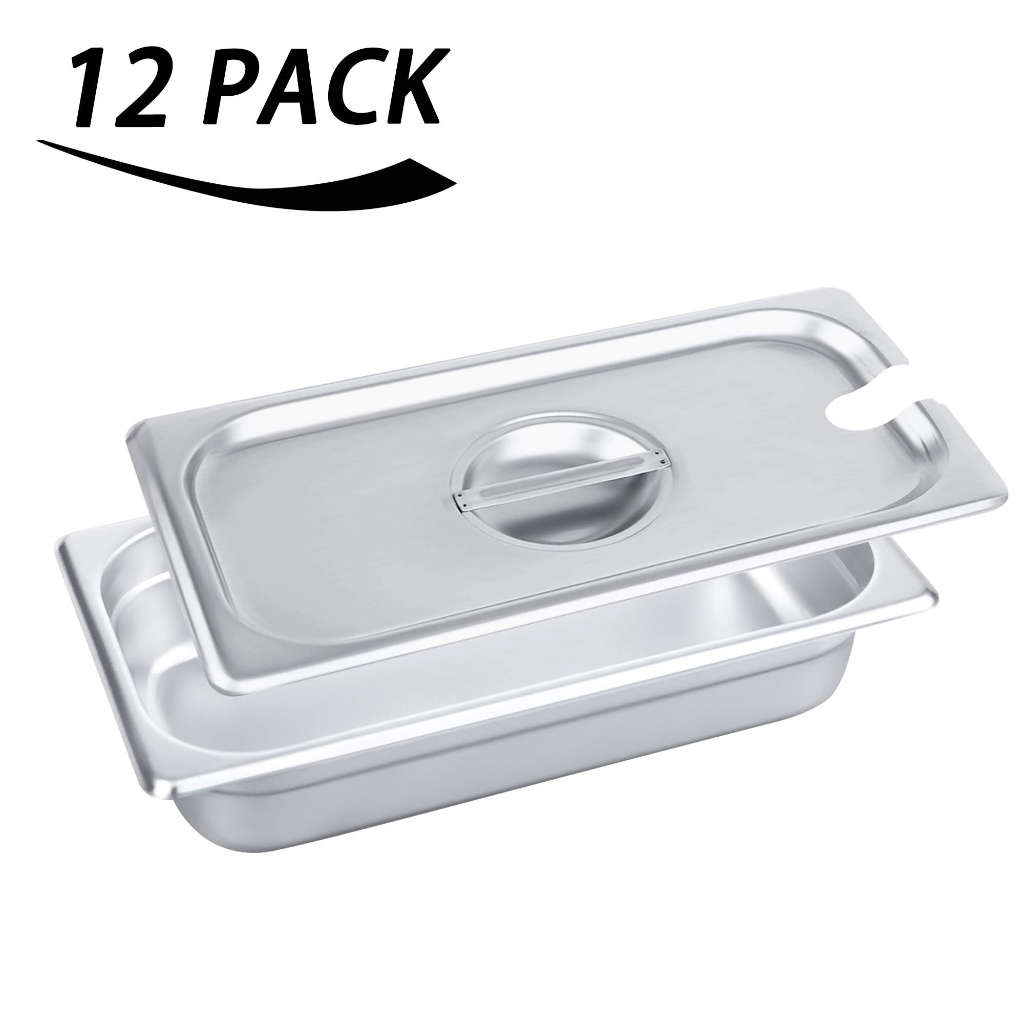 1/3 Size Stainless Steel Slotted Steam Table Pan Cover, Kitma Pan Lids, Non-Stick Surface, Lid for 1/3 Size Steam Pans with Handle - 12 Pack