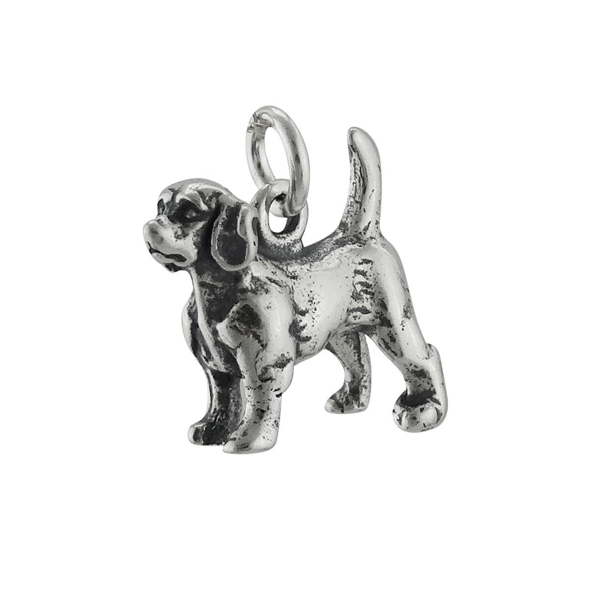 Beagle Dog Charm - 925 Sterling Silver - Pet Puppy Bark Spots Jewelry Making Supply, Pendant, Charms, Bracelet, DIY Crafting by Wholesale Charms