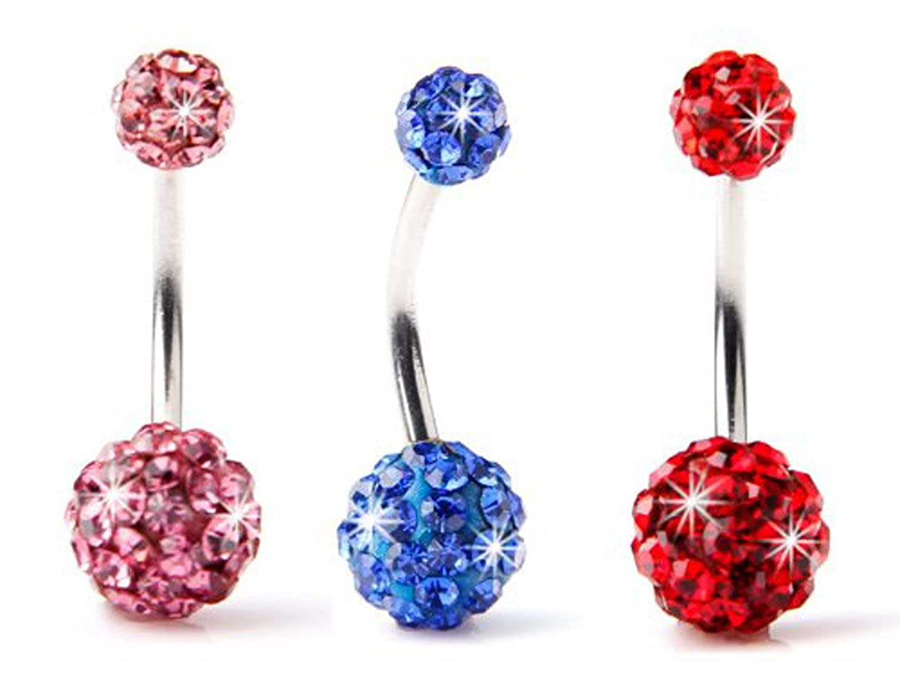 BODYA Lot of 3pc 14G Swarovski Crystal Double Gem jeweled Belly Button Ring Bling Body Jewelry Piercing Ring 3 Pack JW898+JW899+JW900