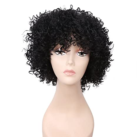 Buy Ashey 10inch Short Black Kinky Curly Afro Wigs African Hairstyle