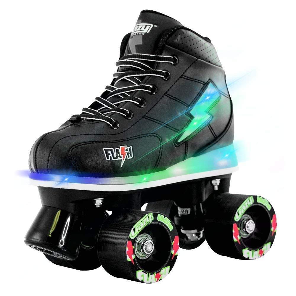 Crazy Skates Flash Roller Skates for Boys | Light Up Skates with Ultra Bright Lights and Flashing Lightning Bolt | Black Patines (Size 1)