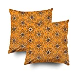 EMMTEEY Home Decor Throw Pillowcase Sofa Cushion Cover,orange navy swirl lumbar Decorative Square Accent Zippered Double Sided Printing Pillow Case Covers 16X16Inch,Set of 2