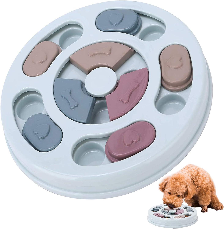 Charfia Juguete de puzle para Perros, Juguetes educativos para Mascotas, Dispensador de Premios Interactivo, Alimentador Lento para Perros, alimentador de Juegos de Entrenamiento (Azul)