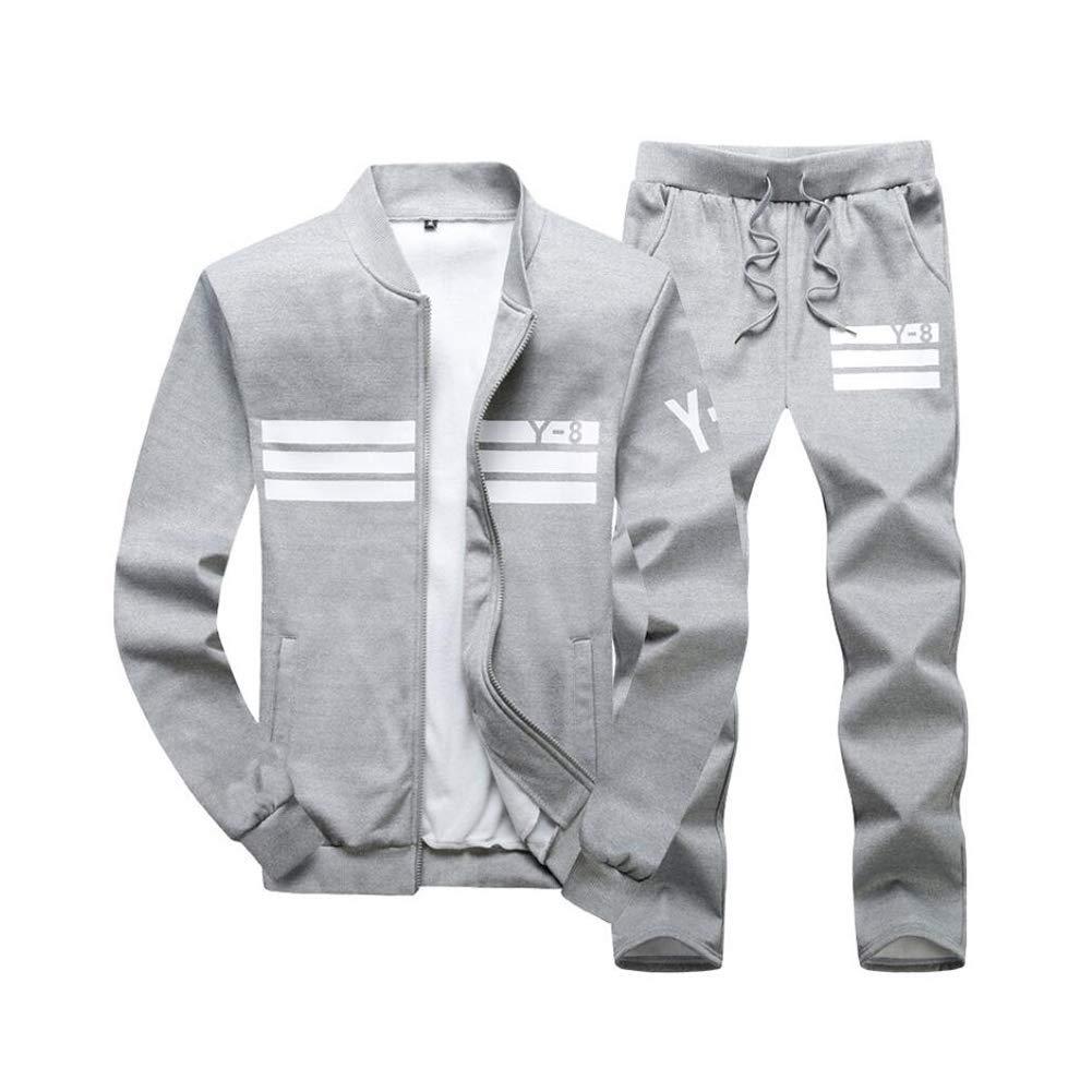 gris 5XL Fuxitoggo Ensemble de survêteHommest Causal pour Hommes Col Mandarin SurvêteHommests de Sport Veste Classique de Jogging Pantalon Pantalon Haut de Sport à glissière complète (Couleur  gris, Taille  8XL)