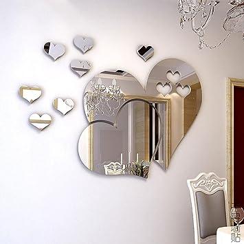 Herz Spiegel Aufkleber DIY Hauptkunst Dekoration Wohnzimmer Schlafzimmer  Selbstklebendes Herausnehmbares Acryl