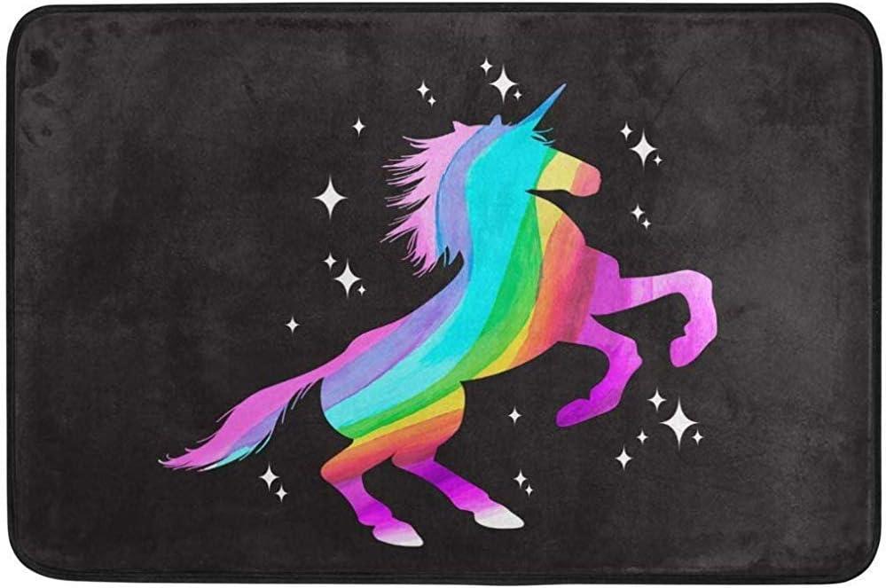 Taoshi Alfombrillas para Puerta Rainbow al Aire Libre Zapatos Raspador Entrada Frontal Caballo Negro Alfombrilla Negra Alfombra de Patio Escombros de Suciedad Estera de trampero de Barro