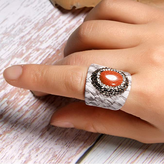 MOON GIRL Oval Goldstone Open Ring Fashion Vintage Adjustable Ring for Women Friendship Jewelry Gift