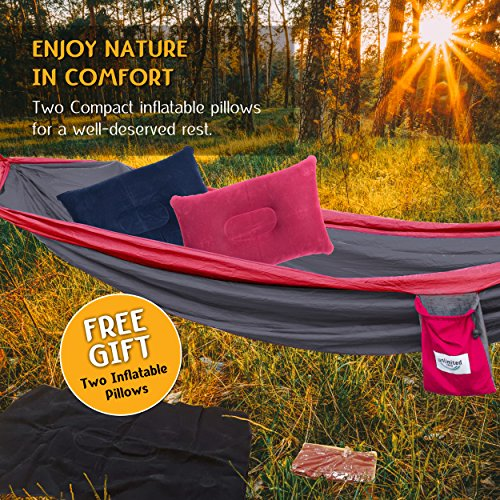 Large, 2 Person Camping Hammock. Primum Quality Ultra Lightweight Nylon. Include Straps and Steel Carabiners.Limited Time Bonus:2 Comfy Air Pillows. For Treks, Yard, Travel, Beach. (Red)