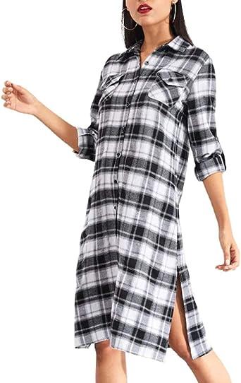 Blusa de Moda para Mujer Vestidos Blusa Esencial Primavera Chicas Manga Larga Moda Corte Ajustado Blusa Larga Botón Tenedor Abierto Camisa leñador Vestido: Amazon.es: Ropa y accesorios