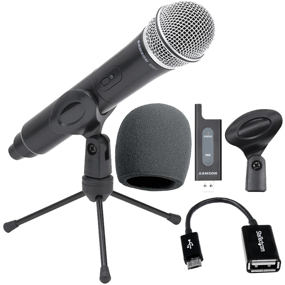 Samson Stage X1U Digital Wireless Handheld Microphone For Android Smartphones Includes USB Receiver + Foam Windscreen + Micro USB OTG Host Adapter , Top Value Samson Wireless Mic System Bundle!