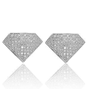 10k White Gold Diamond Earrings with 0.30Cttw Diamonds Screw on 9mm Diamond Shaped(i2/i3, i/j)