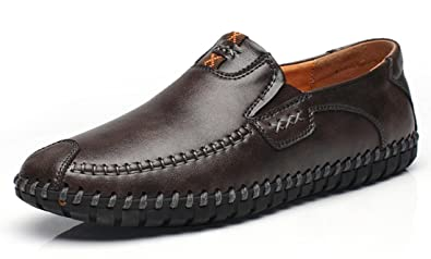 Men's Casual Leather Stitching Moccasins Driving Loafers Slip-On Shoes